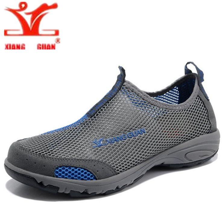 XIANG GUAN Outdoor zapatillas deportivas hombre Breathable Air Mesh Shoes Men Lightweight Walking Lace-Up Shoes Man Wade Aqua