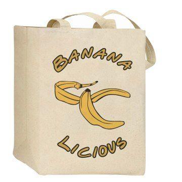 Bananalicious (Eco Friendly Bag) SarahBe Designs. #customizedgirl #banana #food #bags #ecofashion
