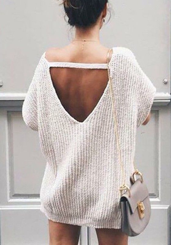 Grey Plain Round Neck Cut Out Casual Pullover Sweater
