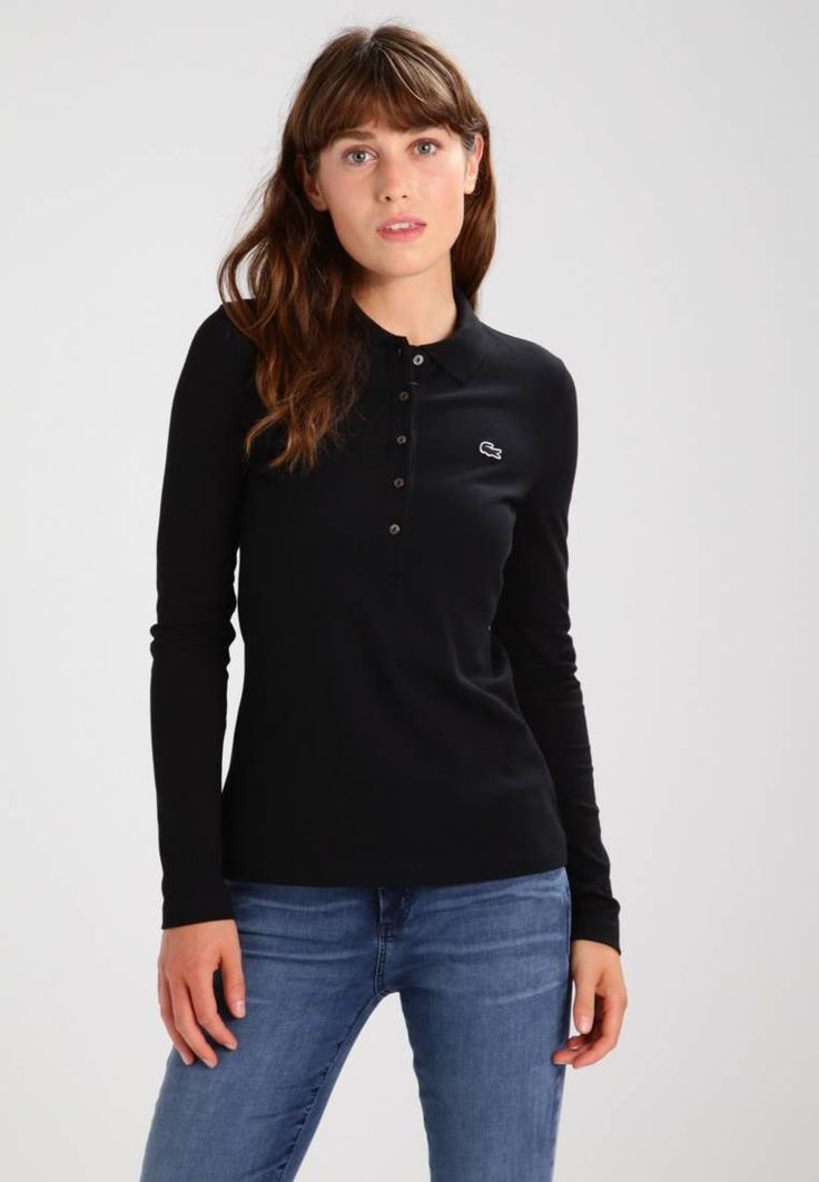"""Lacoste. Long sleeved top - noir. Fit:small. Outer fabric material:94% cotton, 6% spandex. Our model's height:Our model is 69.0 """" tall and is wearing size 8. Pattern:plain. Care instructions:do not tumble dry,machine wash at 30°C. ..."""
