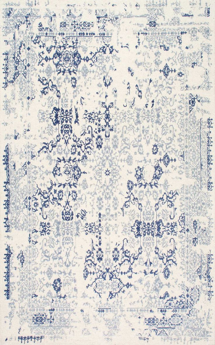 Simply blue with Rugs USA's Verdana VN01 Hand Tufted Shrouded Laurel Damask Rug!