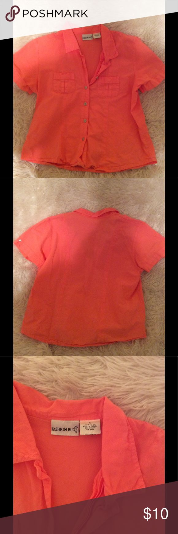 90s Button Down Blouse Classic top! 90s style. Hardly worn. Peach orange color.Rave festival boho gothic punk indie girly 90s  •Please feel free to make offers! ✅ BOGO $10& under! Sales through Posh only! I am able to model most items I have posted! If I haven't already- just ask 😊 Please ask for measurements if you need them! I include a small gift when gifts are available ☺️ Fashion Bug Tops Button Down Shirts
