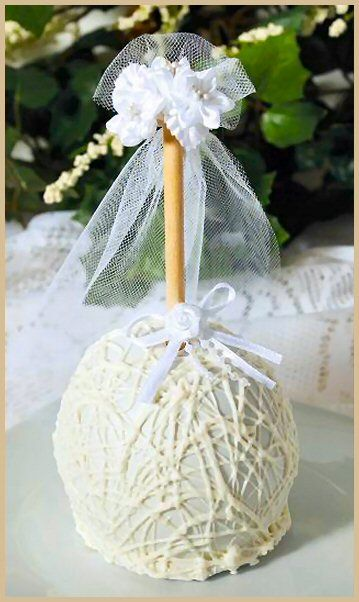 Gourmet Bride Caramel Apple from The Forbidden Fruit $14.95 www.caramelapplesandmore.com Use as a gift, decoration, centerpiece, or favor.