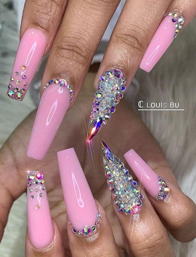 Nail Matte Coffin Rhinestones Manicure Summernails Nailspromote Pink Bling Nails Pink Acrylic Nails Hot Pink Nails