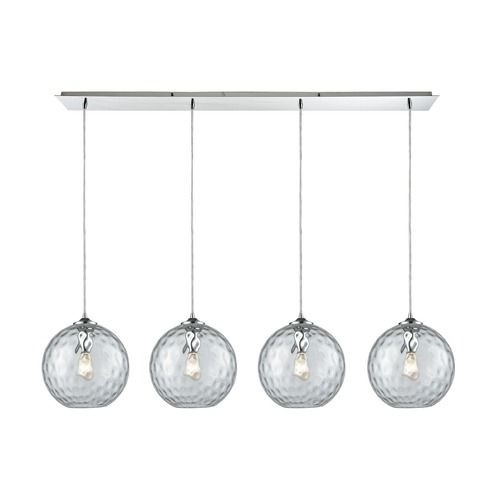 Watersphere Polished Chrome Multi-Light Pendant with Globe Shade   31380/4LP-CLR   Destination Lighting