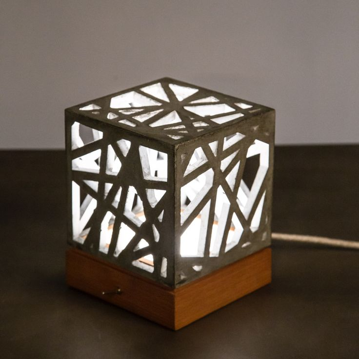 Hand made wooden and concrete lamp
