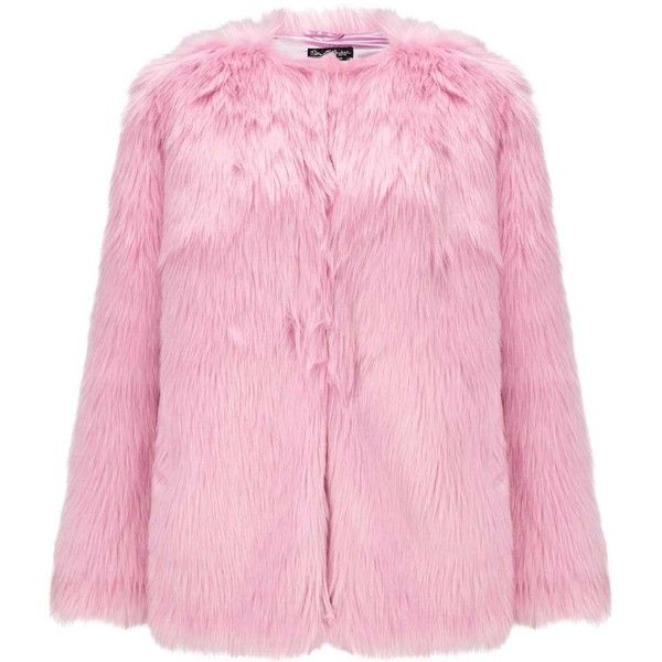 Miss Selfridge Pink Faux Fur Mid Length Coat (2.407.155 VND) ❤ liked on Polyvore featuring outerwear, coats, jackets, pink, imitation fur coats, pink fake fur coat, faux fur coat, pink coat and mid length coat