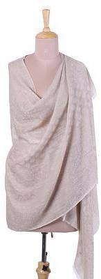 Subtle Changthang Intricate Handwoven Cashmere Wool Shawl in Taupe from India. Shawl fashions. I'm an affiliate marketer. When you click on a link or buy from the retailer, I earn a commission.