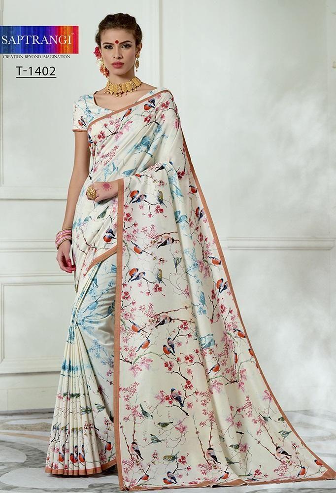056c451482 White Printed Silk Saree With Printed Blouse in 2019   Saree   Tussar silk  saree, Saree, Silk sarees