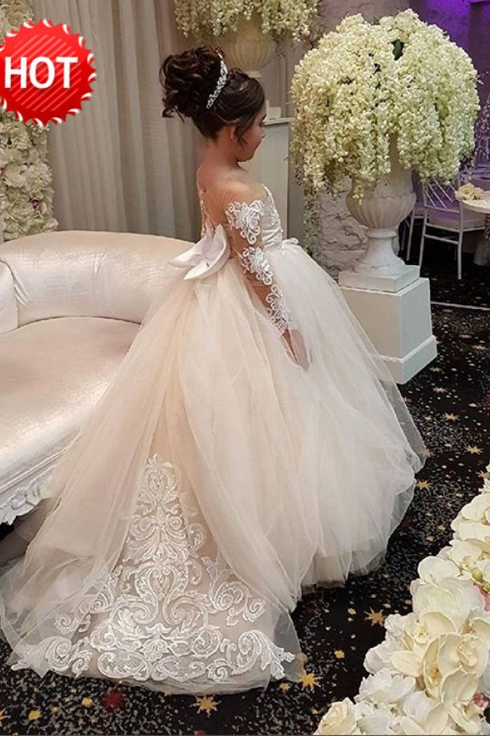 Ball Gown Round Neck Light Champagne Tulle Flower Girl Dress with Appliques  1 75262b2aff63
