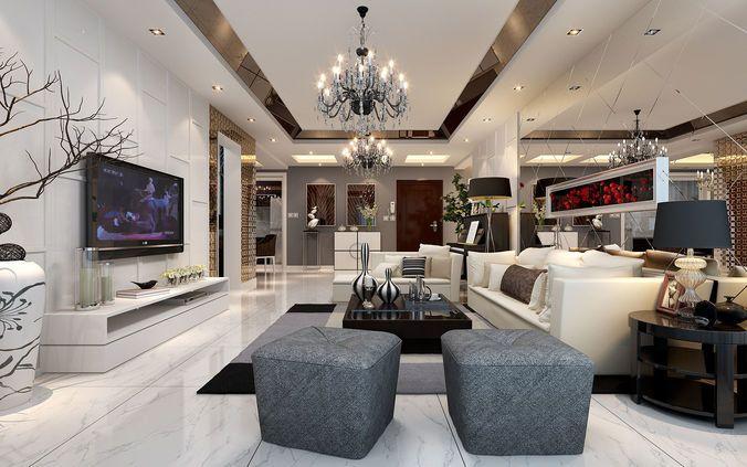Fashion Simple Luxurious Modern China Europe Living Room Restaur 3d Model Max 4 European Home Decor Design Celling Design