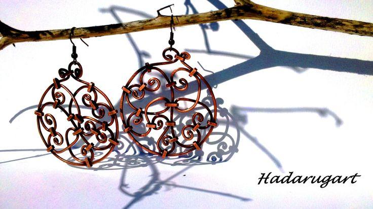 Cercei din sarma si tabla de cupru - HadarugartArta inseamna viata