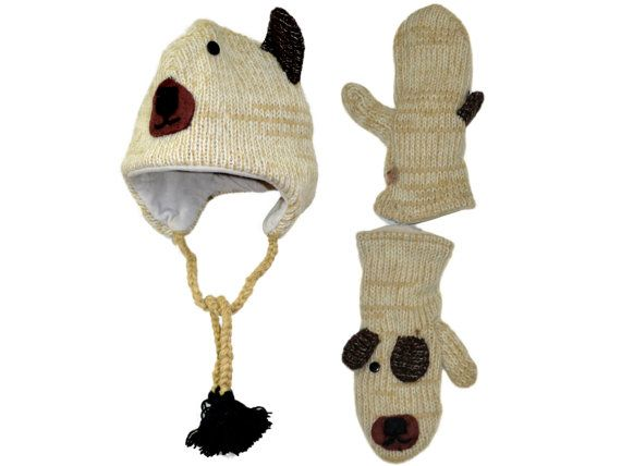 Beige Mouse animal knit hat with mittens set  by HatsMittensEtc