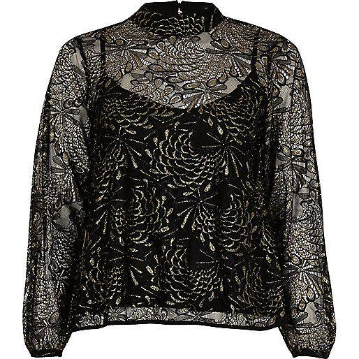 Black print lace high neck blouse - blouses - tops - women