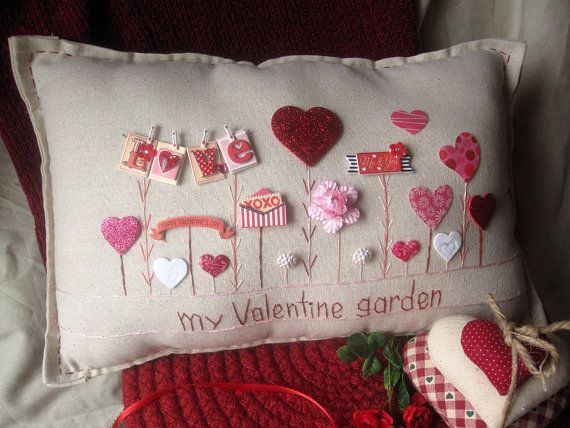This valentine-themed hand-made muslin needlework pillow is perfect for Valentines Day and for that special someone in your life! Size is approximately 14 1/2 x 8.