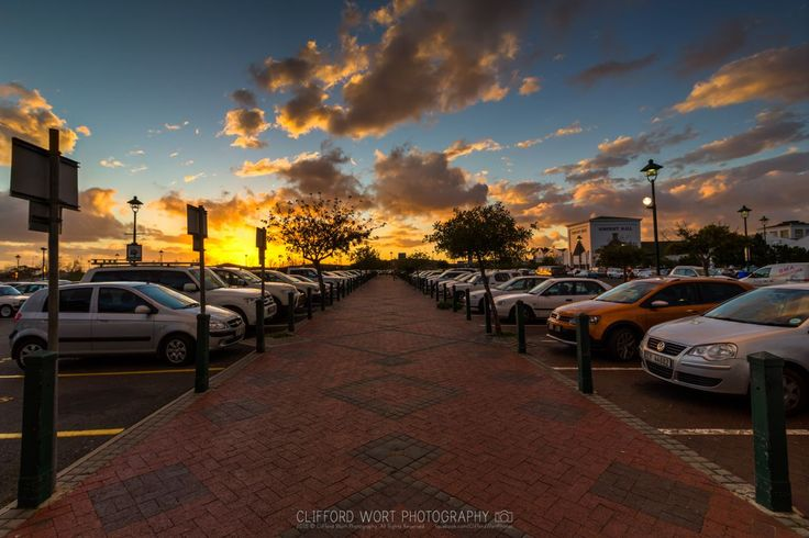Somerset Mall - sunset in parking area - Helderberg - Cape Town (Photo Clifford Wort). #SomersetMall #SomersetWest #CapeTown