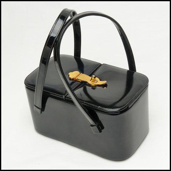 Vintage handbag -Timeless black patent Etra vintage box handbag,purse, bag, hand bag,pocketbook, boxbag, box bag