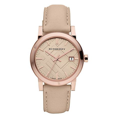 Buy Burberry BU9109 Women's The City Leather Strap Watch, Cream / Rose Gold  Online at