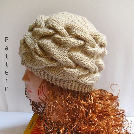 Knit Cabled Hat PDF Pattern