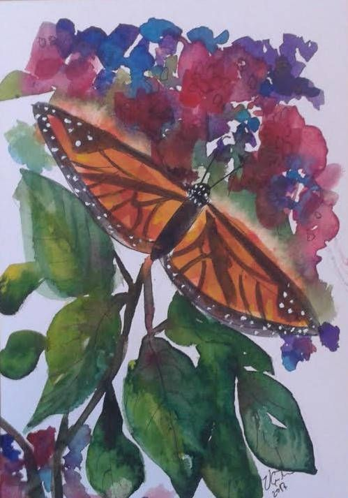 Monarch Butterfly in the Indian Garden  original watercolour
