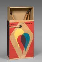 Raymond HAINS (1926 - 2005) SAFFA, OMAGGIO A MONDRIAN E A DE CHIRICO - 1970 Boîte en carton et trois allumettes en bois et résine