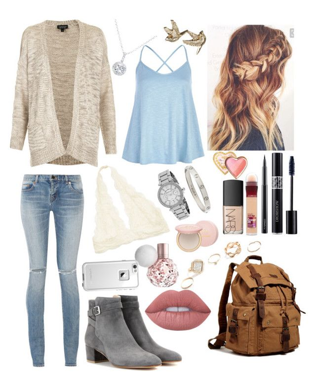 """School 69"" by ella-goodness on Polyvore featuring Yves Saint Laurent, River Island, Topshop, Gianvito Rossi, Christian Dior, Cartier, Lime Crime, MAC Cosmetics, Too Faced Cosmetics and Maybelline"