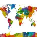 """""""Map of the World Map Watercolor"""" by ModernArtPrints"""
