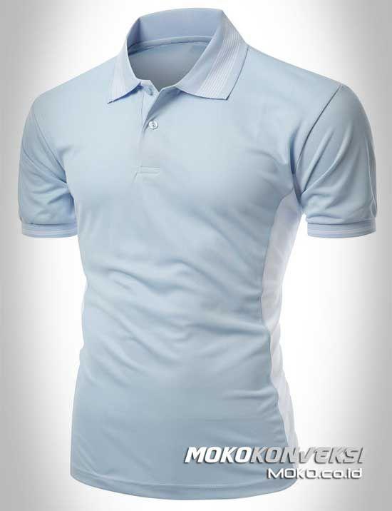 Polo Shirt Custom - KONVEKSI SEMARANG MOKO. Bikin Kaos Kerah Custom Warna Baby Blue & Putih.