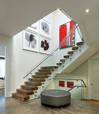Love the abstract art! Staircase - contemporary - staircase - toronto - Douglas Design Studio