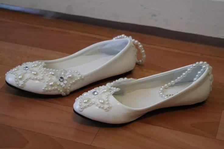 Tienda Online 2016 estrella blanca de cinco puntas star pearl rhinestone tobillera con cuentas zapatos de la boda zapatos de dama de honor hecha a mano zapatos de mujer pisos tamaño 41-42   Aliexpress móvil