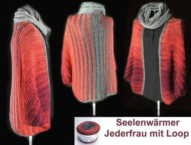 "Seelenwärmer ""Jederfrau"" aus 2 BOBBEL Woolly Hugs-Cotton gehäkelt (Farbe Nr.04) Kostenlos zum Download: http://veronikahug.com/modelle-aus-woolly-hugs-bobbels/"