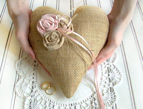 Ring Bearer Heart Pillow Burlap Cushion Blush By Twiningvines