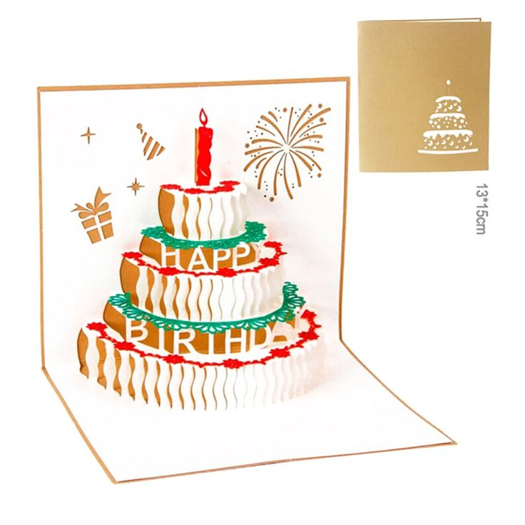 New 3D pop up handmade laser cut Birthday cake with candle creative gifts postcard birthday greeting cards CY1