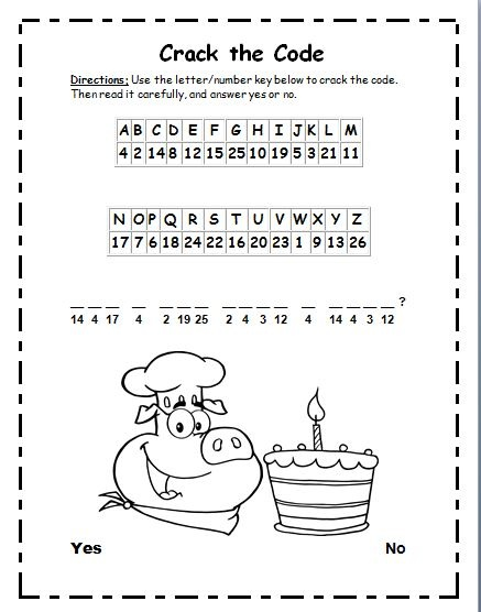 Clever image pertaining to crack the code worksheets printable