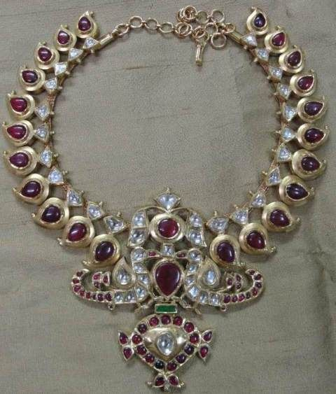Heirloom South Indian necklace – A remake of the antique, diamond and ruby-studded 'maanga maalai' with peacock motifs in 22kt YG 'kundan' s...