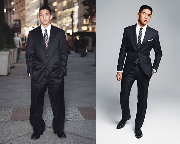 Un relooking certes un peu cliché de GQ mais notez la différence de silhouette qu'apportent la bonne taille et le cintrage !