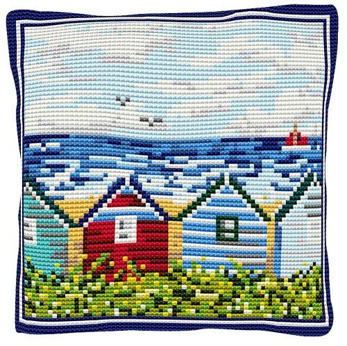 Beach Huts - Cross Stitch Kit (printed canvas)