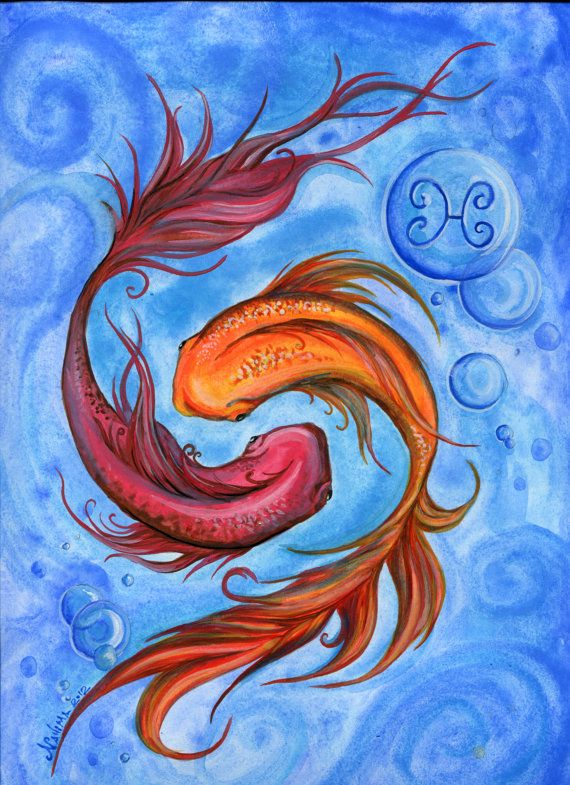 Watercolor - Star sign - Pisces - Print from Original Painting - Zodiac Series