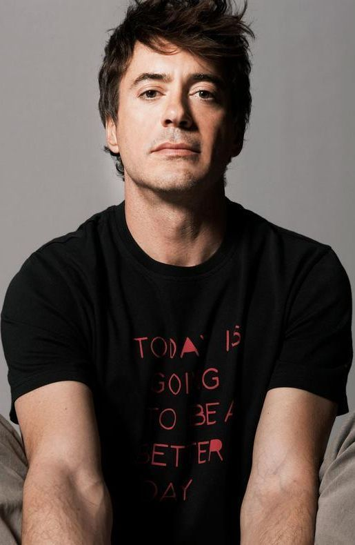 "Robert Downey Jr.... his shirt reads: ""Today is going to be a better day."" I set this as my computer background several weeks ago, it's a constant reminder that I am not made up solely of my past mistakes."