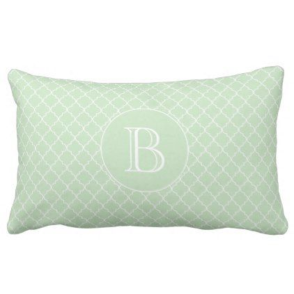 Mint Green Quatrefoil Pattern Custom Monogram Lumbar Pillow - monogram gifts unique design style monogrammed diy cyo customize