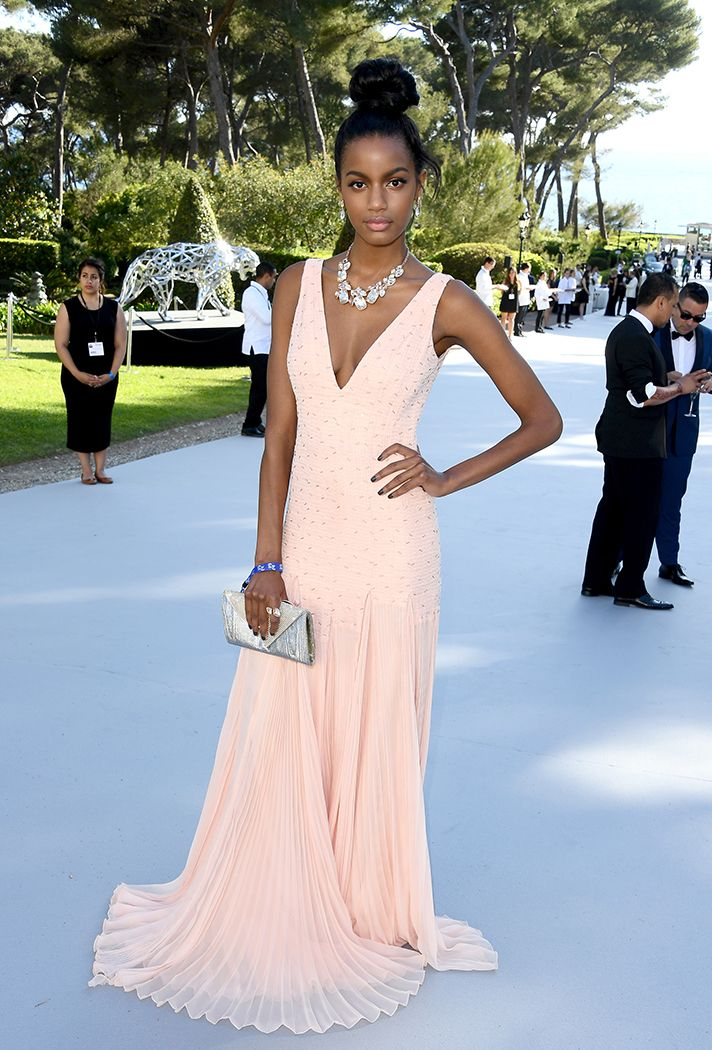 Formal Dress Inspiration | What All the Celebs Wore to the 2016 amfAR Gala | Ebonee Davis in a soft pink Carmen Marco Valvo gown