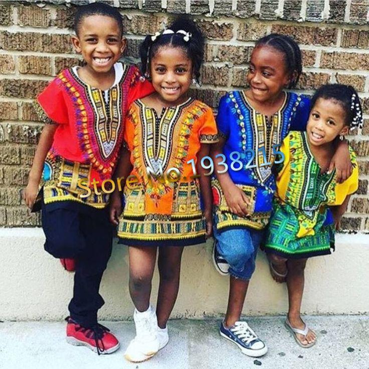 الجملة 2016 طفل جديد ملابس الموضة التصميم التقليدي الأفريقي طباعة dashiki t للبنين والبنات