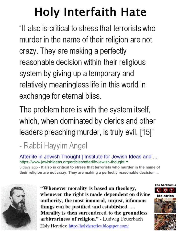 """It also is critical to stress that terrorists who murder in the name of their religion are not crazy. They are making a perfectly reasonable decision within their religious system by giving up a temporary and relatively meaningless life in this world in exchange for eternal bliss.  The problem here is with the system itself, which, when dominated by clerics and other leaders preaching murder, is truly evil. [15]""  - Rabbi Hayyim Angel…"