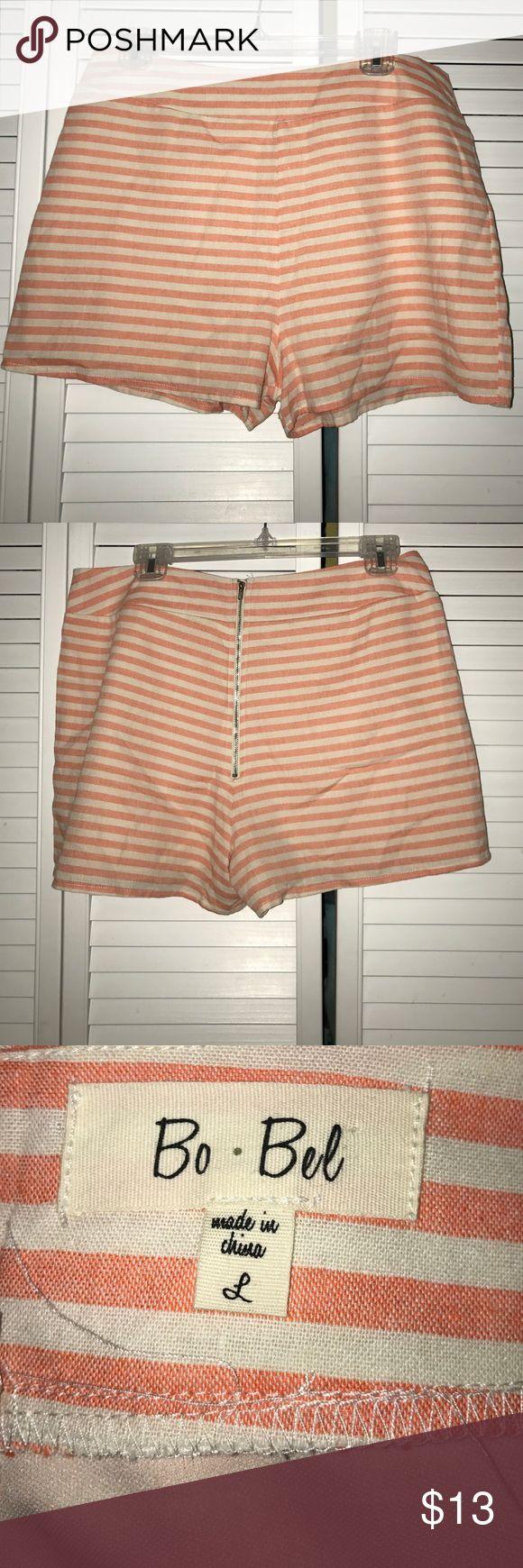 Bo Bel Orange and White strip shorts Bo Bel Orange and White strip shorts Bo Bel Shorts