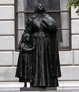 "Anne Marbury Hutchinson statue, Boston. Close friend of Mary Dyer, and expelled from the colony for ""heresy"" because she preached ""God's grace and God's love"""