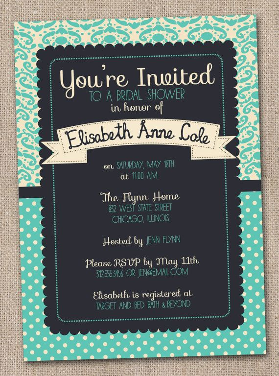 Printable Bridal Shower Invitations Aqua and Navy Blue Damask Digital Design