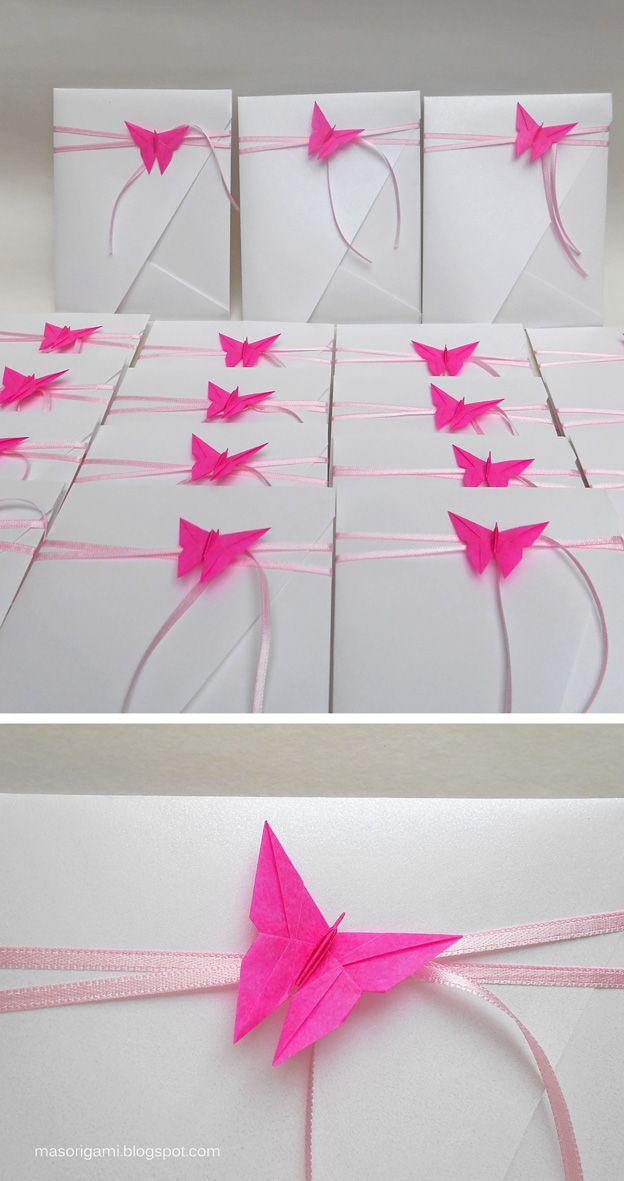origami - sobres plegados en cartulina con detalle de mariposa para 15 años