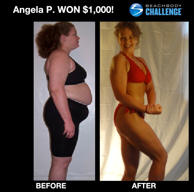 """::March 2013, WOMEN 40-49:: Angela lost 71 LBS, and 15"""" off WAIST using #P90X + #Shakeology! --> """"I not only lost weight and got healthy, Beachbody has [also] affected my entire family - All of us do programs … Best of all, I found my JOY for living again!""""  ENTER YOUR RESULTS TODAY FOR A CHANCE TO WIN!"""