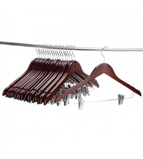 J.S. Hanger Solid Gugertree Wooden Pant Hanger, Wooden Suit Hangers with Polished Clips and Hooks, Wooden Clothes Hangers, Walnut Polished(Set of 20)