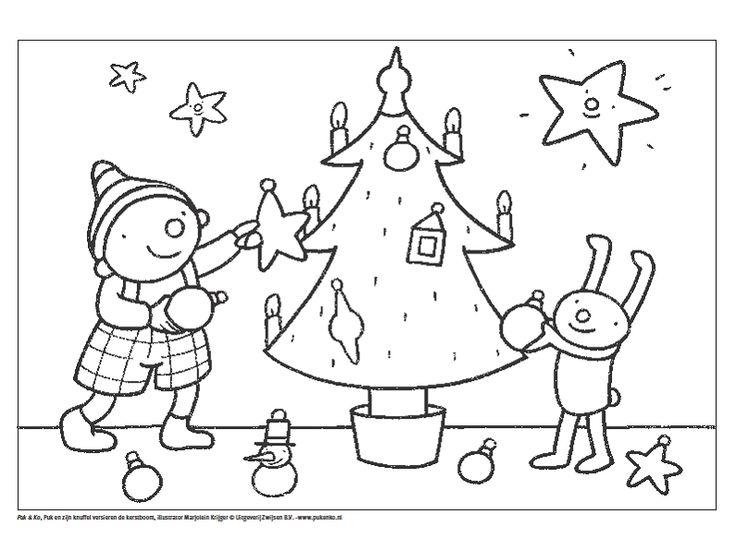 Uk en Puk -  Kerstmis kleurplaat